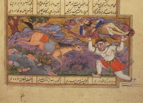 Rustem aruncat în mare. Detaliu (Princeton Islamic MSS., no. 57G, p. 180:2) (sursă foto)