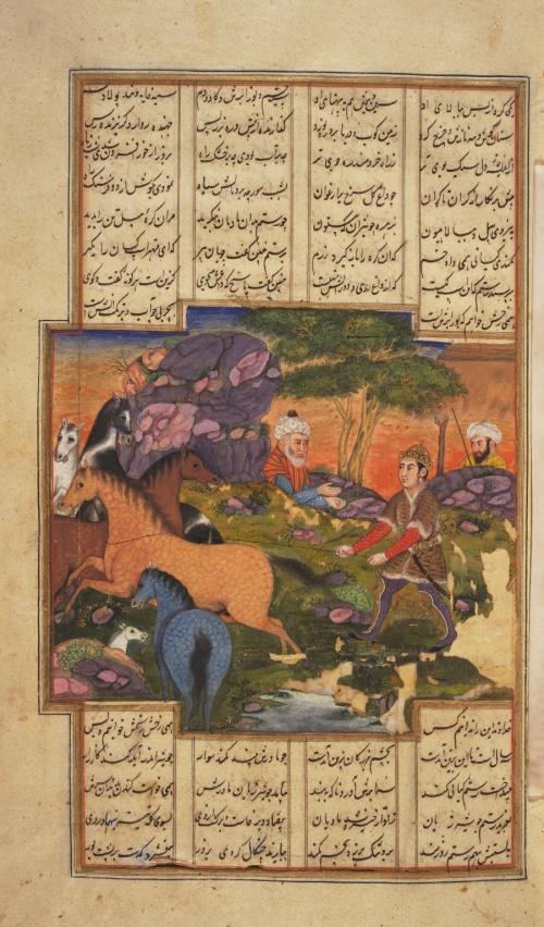 Rustem îl îmblânzeşte pe Raksh, calul său credincios. (sursă foto: Princeton Islamic MSS., no. 57G, p. 52:1)